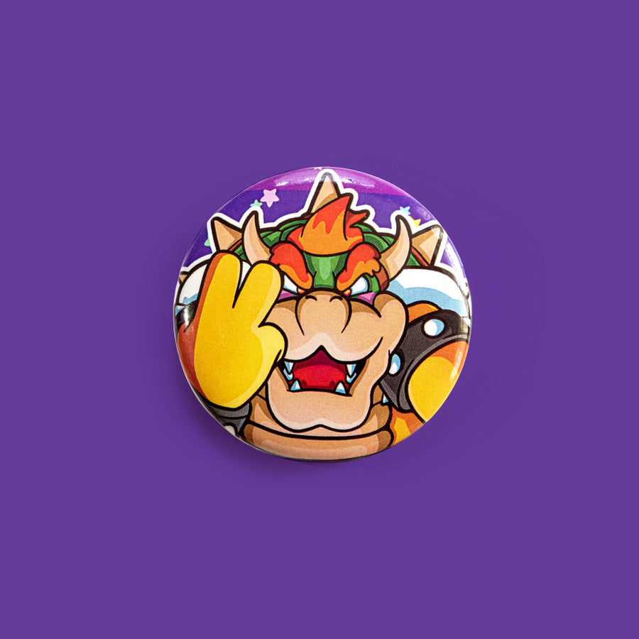 Kawaii villain pinback button