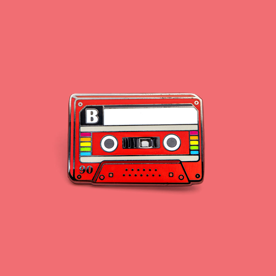 red CASETTE MIXTAPE pins