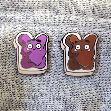 peanut butter and jelly sandwich pins on denim