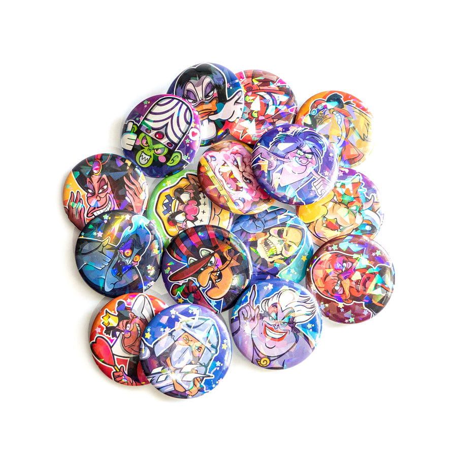 holographic retro buttons