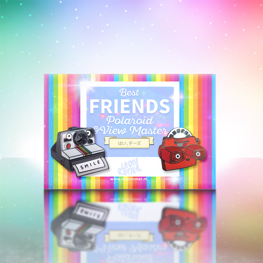 polaroid and view master lapel pin set on rainbow backing card