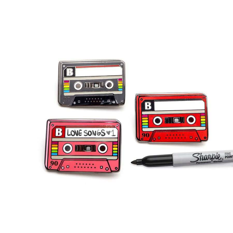 retro CASETTE MIXTAPE badges