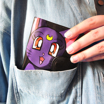 luna sailor moon custom leather wallet