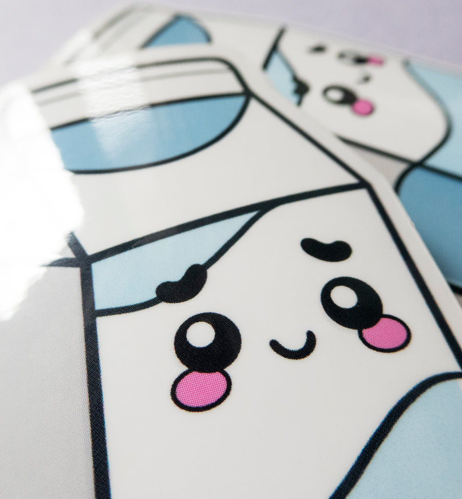 close up cute milk sticker