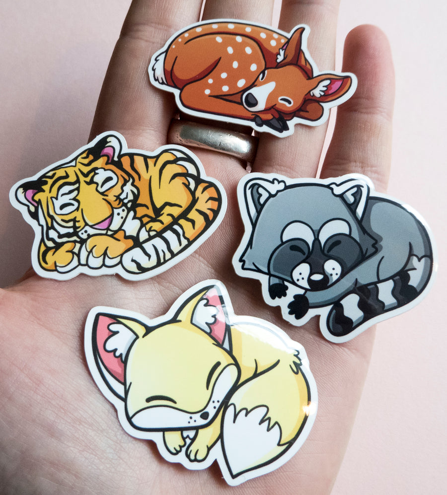 collection of tiny animal stickers that are sleeping