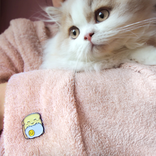 toast pin with cat in pink robe