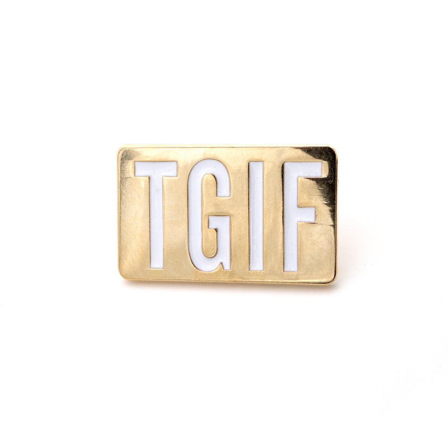 tgif gold metal enamel pin