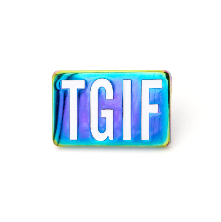 tgif rainbow metal lapel pin