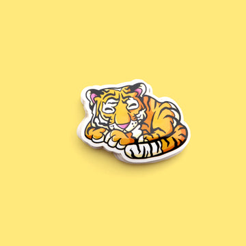 tiger taking a nap sticker