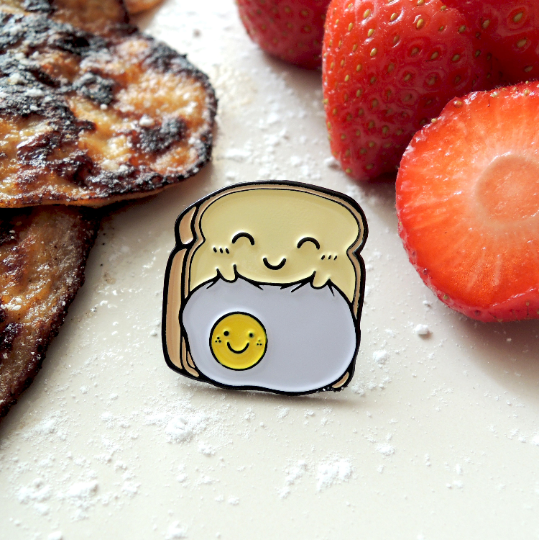 enamel toast pin with pancakes