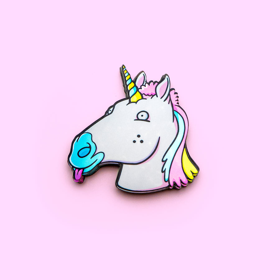 holographic unicorn sticker with rainbow hair