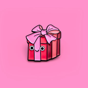 valentines day pink wrapped present enamel pin