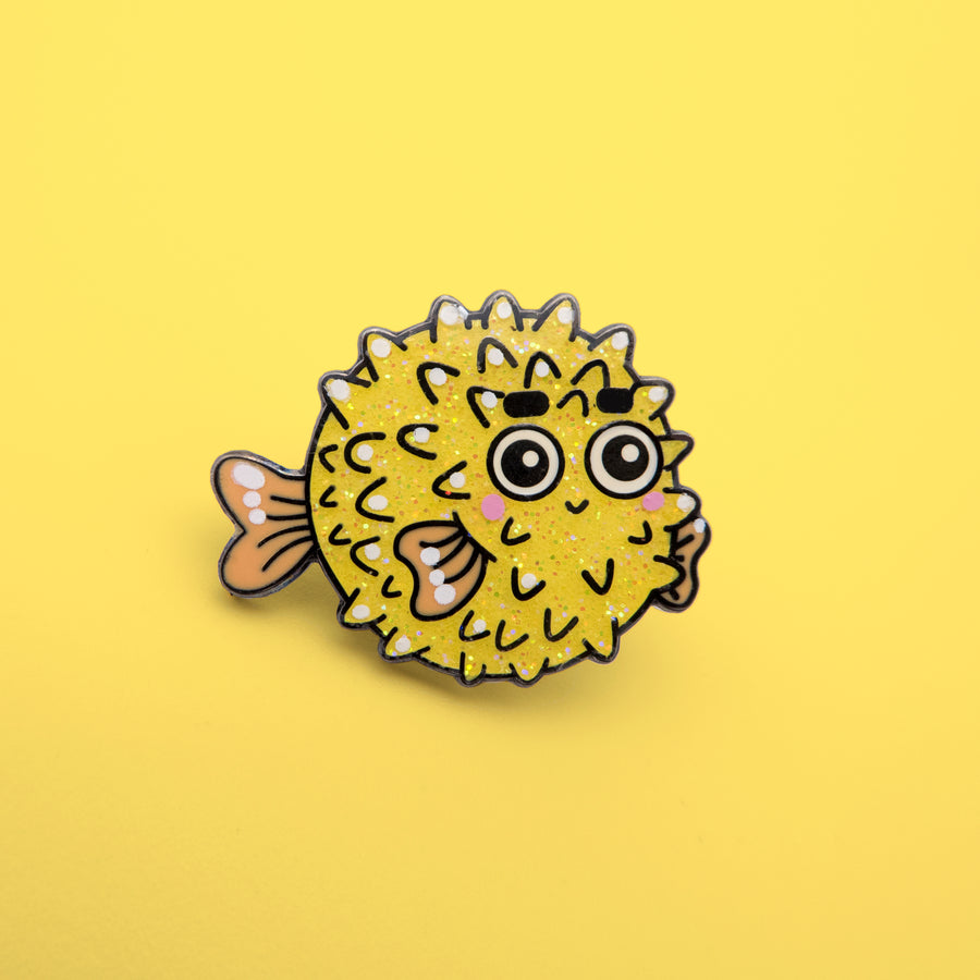 yellow glitter baby fish pin