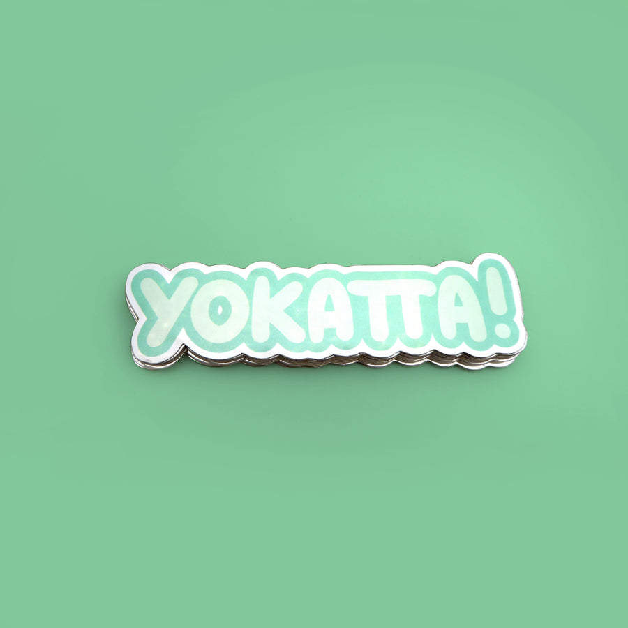 yokatta green reflective japanese vinyl sticker