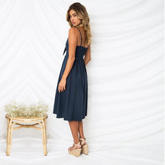 Deep V Backless Midi Length Sun Dress