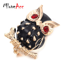 MloveAcc Black Enamel Gold Color Owl Brooch for Women Red Eyes Animals Brooches Vintage Collar Pin Personality Men Jewelry