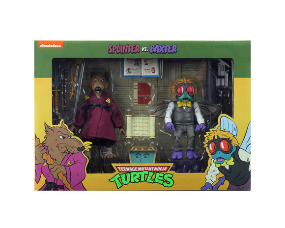 NECA TMNT Cartoon Splinter & Baxter Action Figure 2-Pack