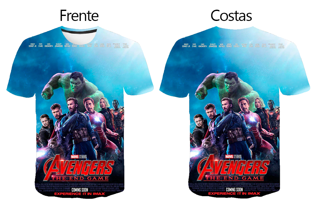 Camiseta Vingadores Estampa Digital 3D