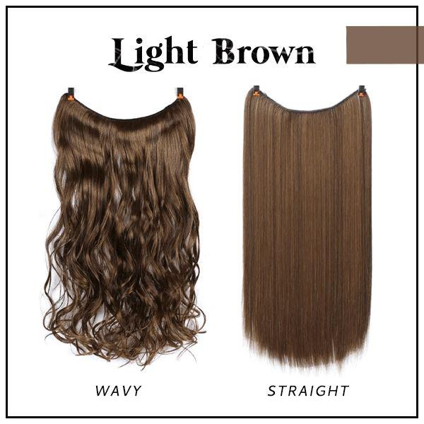 Prettio™ Invisible Hair Extension Beauty & Personal Care US Wishingoal Light Brown Wavy