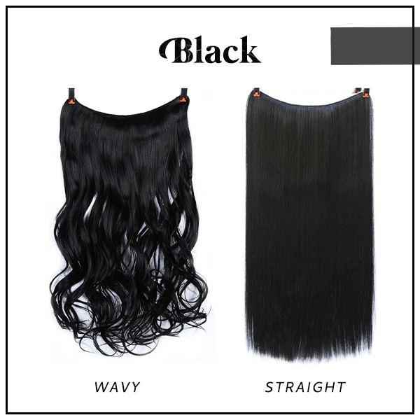 Prettio™ Invisible Hair Extension Beauty & Personal Care US Wishingoal Black Wavy
