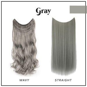 Prettio™ Invisible Hair Extension Beauty & Personal Care US Wishingoal Gray Wavy