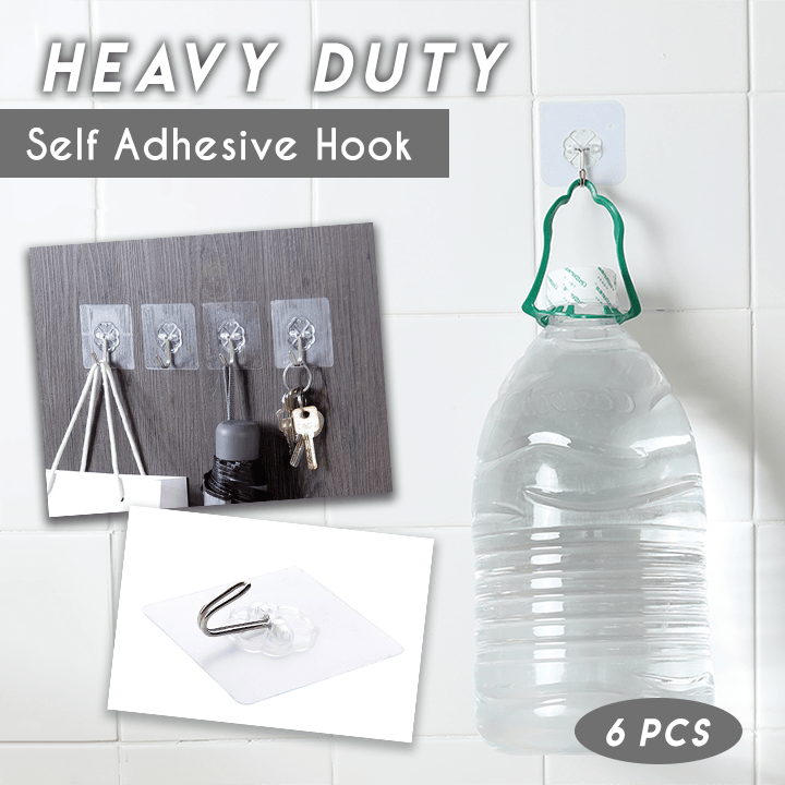 Heavy Duty Self Adhesive Hooks (6 PCS)