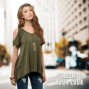 Cold Shoulder Tunic Top