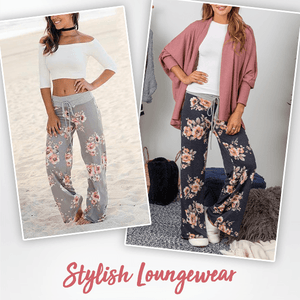 Wide-Leg Drawstring Floral Pants