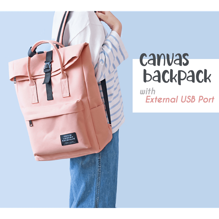 External USB Charge Canvas Backpack