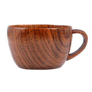 Natural Jujube Bar Wooden Cups Mugs With Handgrip