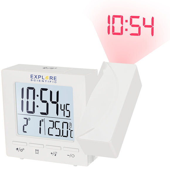 Explore Scientific RC Digital Projection Clock with Indoor Temperature, white