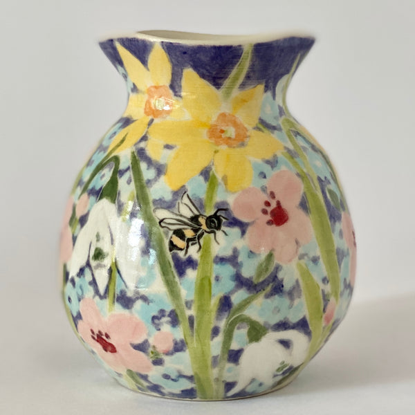 Spring Flowers and Bees Vase