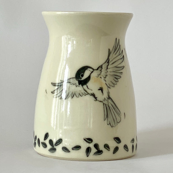 Chickadee With Seeds Vase