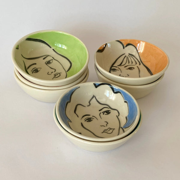 Visage on Colour Bowls (Set of 7)