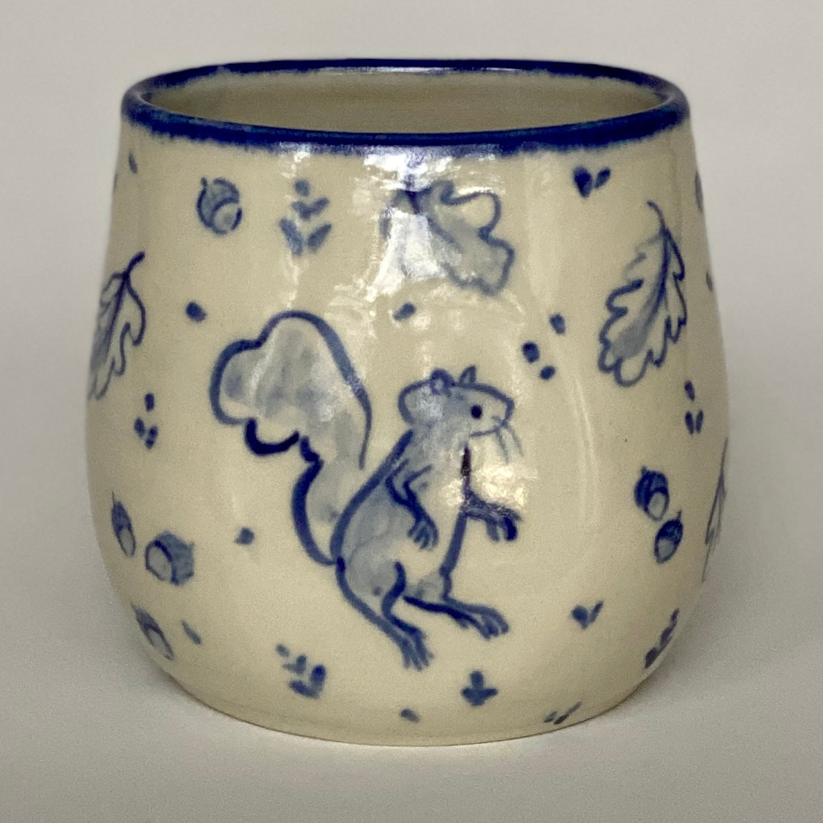 Cobalt Blues Squirrel and Crow Vase
