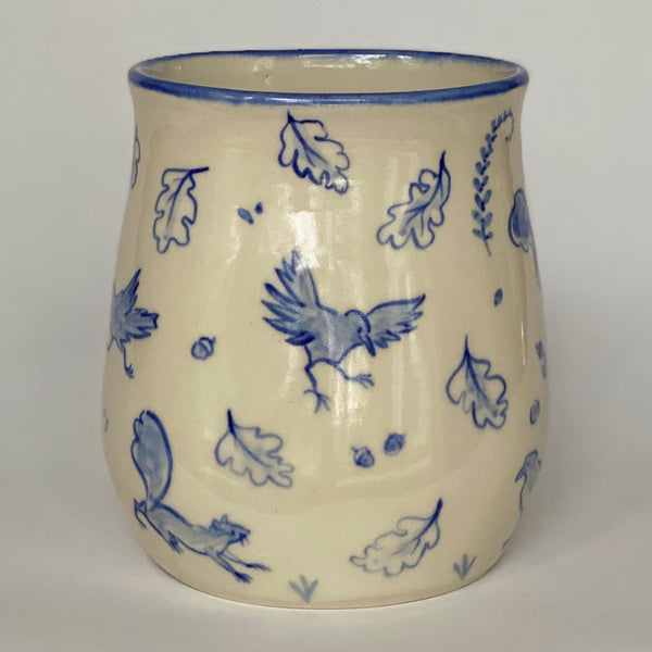 Cobalt Blues Squirrels and Crows Vase