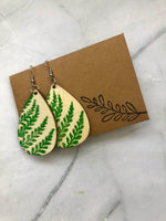 Fern Print Wooden Earrings