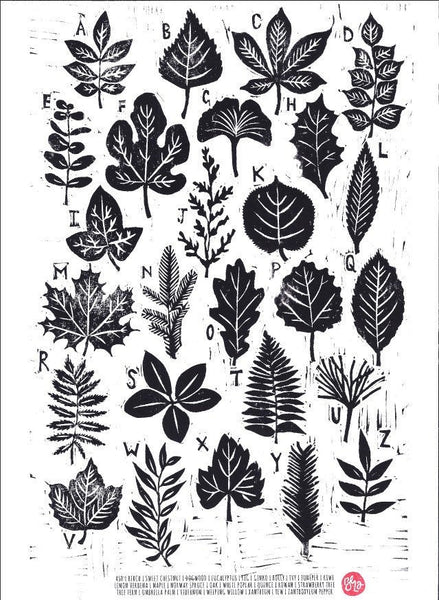 A to Z of Leaves - Woodcut Print, Botanical print, Plant Print, Garden, Trees, Gardening - Handprinted Woodcut Art Print, A4 Print