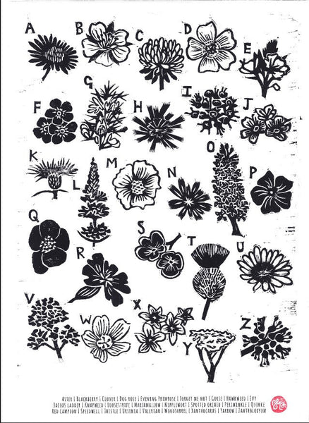 Alphabet Print of Flowers - Woodcut Print, Inspired by Nature, Botanical print, Floral Print, Art Print, Affordable Art, Gardening Gifts