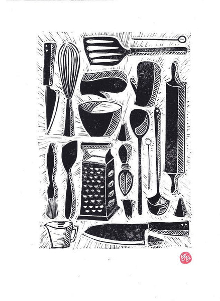 Kitchen & Baking Tools - Handprinted Linocut Art Print, Monochrome print, Home Decor, A4 Print, Gift, Wall Art, Affordable Art, Cooking