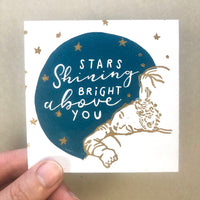 Stars shining bright above you - Handprinted linocut Print for Nursery, New baby. Dream a little dream of me Song print, sleeping baby