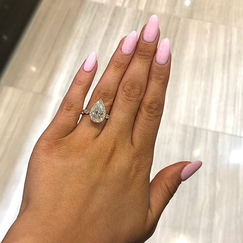 Golden Pearfection Engagement Ring