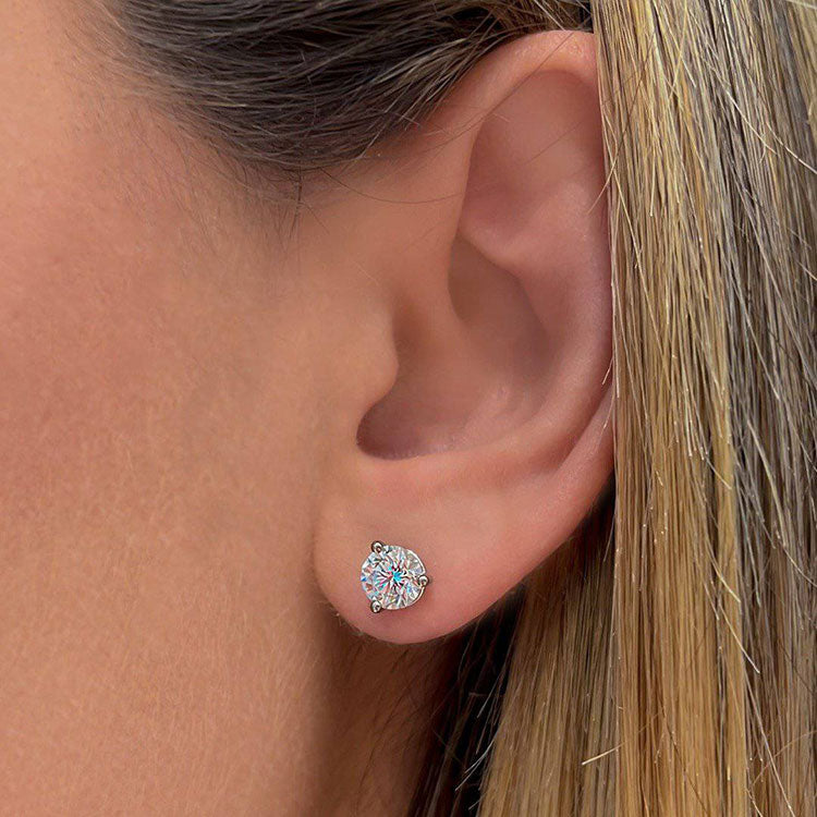 3-Prong Round Diamond Studs - Armans Fine Jewellery