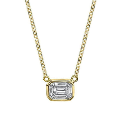 Bezel Set Emerald Diamond Pendant - Armans Fine Jewellery