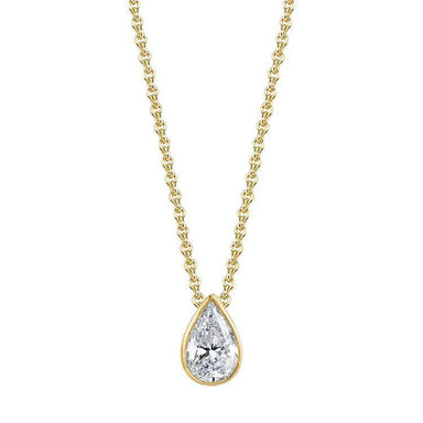 Bezel Set Pear Diamond Pendant - Armans Fine Jewellery