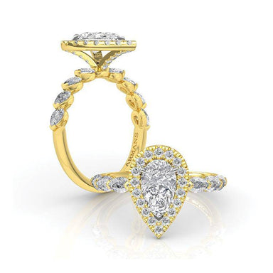 Golden Pearfection Engagement Ring - Armans Fine Jewellery