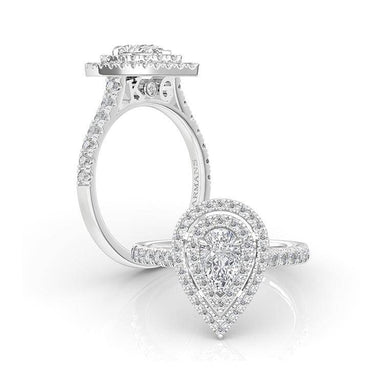 Pear Double Halo Engagement Ring - Armans Fine Jewellery