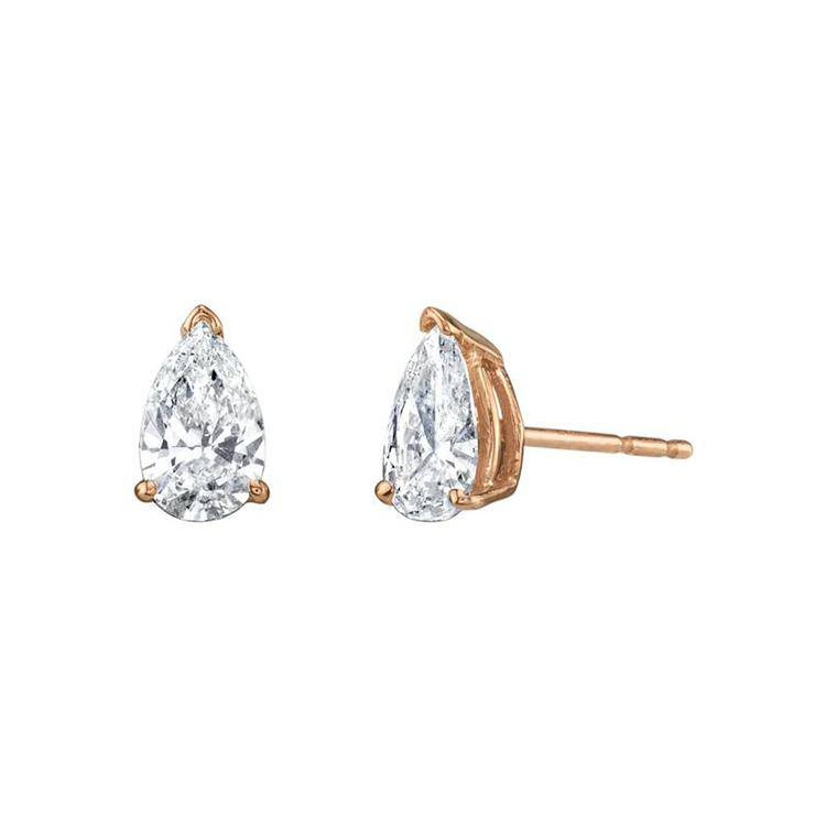 Pear Solitaire Diamond Studs - Armans Fine Jewellery