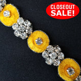 CLOSEOUT! 5 yards of Embroidered Rhinestone Trim , COT-001