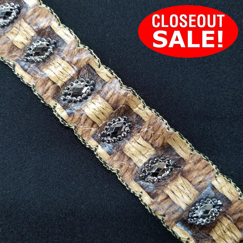 CLOSEOUT! 5 yards Gunmetal Stones on Beige Brown Tape with Embroidered Edge , COT-040
